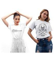 kit 2 camisetas femininas my t-shirt rock branca