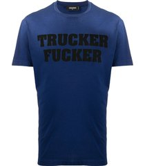 dsquared2 trucker fucker print t-shirt - blue