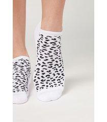 calzedonia animal print sport no-show socks woman white size tu