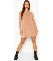 soft knit crew neck long sleeve swing dress, toffee