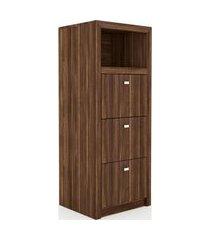 armário arquivo para pasta suspensa 3 gavetas me4118 tecno mobili nogal videira marrom