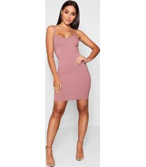 basic strappy cami bodycon dress, antique rose