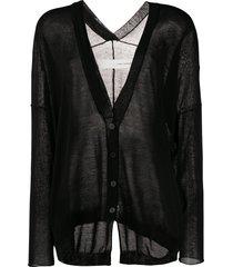 isabel benenato sheer fine knit cardigan - black