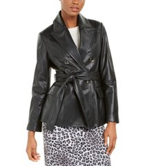 tahari leather belted jacket