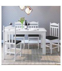 conjunto mesa fixa com 4 cadeiras móveis canção branco/preto
