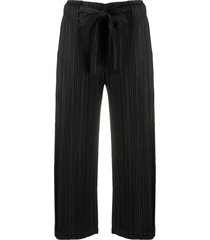 pleats please issey miyake micro-pleated belted cropped trousers -