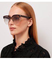 saint laurent women's half acetate frame sunglasses - havana/grey