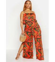 plus palm print top en broek met ceintuur set, oranje