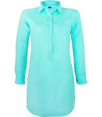 solid turquoise linen shirt dress