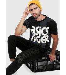 camiseta negro-blanco asics