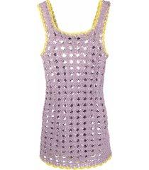 marco rambaldi square neck open-knit dress - purple
