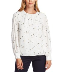 vince camuto whimsical petals button-sleeve blouse