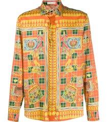 etro scarf-print cotton shirt - orange