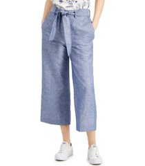 bar iii chambray linen wide-leg belted pants, created for macy's