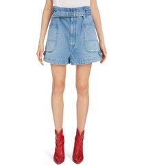 women's isabel marant paperbag waist denim shorts