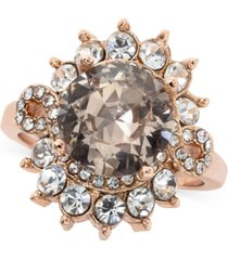 charter club rose gold-tone crystal halo statement ring, created for macy's
