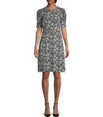 velvet women's floral puff-sleeve dress - azalea multi - size s