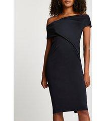 river island womens black off the shoulder midi dress