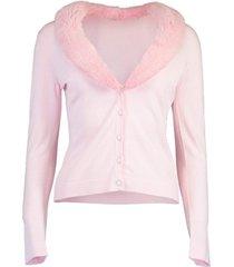 pink mink collar cardigan