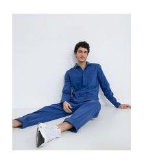macacão longo sarja sem estampa e com bolsos | blue steel | azul | pp