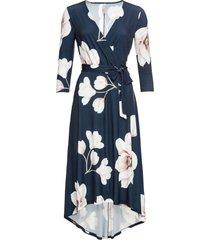 abito lungo asimmetrico con cintura (blu) - bodyflirt boutique