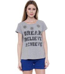 blusa bisô t-shirt estampada cinza - kanui