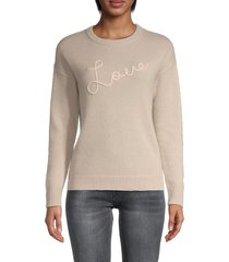 ply cashmere women's love-stitched cashmere sweater - oyster - size xs
