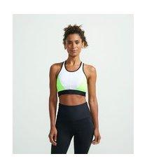 top esportivo com bojo alta sustentação com recortes contrastantes e detalhe em tela costas | get over | multicores | gg