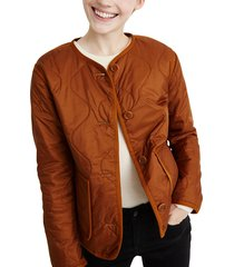 women's madewell quilted liner jacket, size xx-large - brown