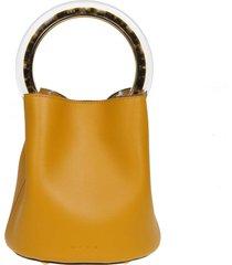 marni handbag pannier in ocher yellow leather circular handle in resin and metal