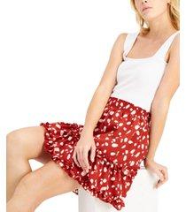bar iii printed ruffled mini skirt, created for macy's