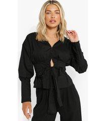 geplooide blouse met ceintuur, black