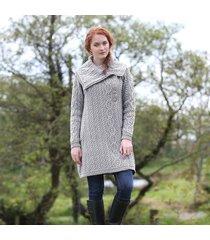 ladies aran wide collared button coat gray medium