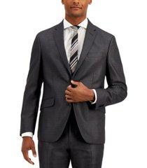 kenneth cole reaction men's techni-cole charcoal suit separate slim-fit jacket