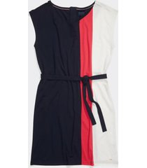 tommy hilfiger women's adaptive pieced short-sleeve dress masters navy/azalea/snow white - s