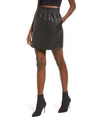 women's vero moda ellie high waist coated skirt, size medium - black