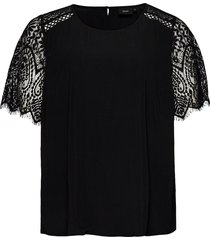 blouse plus short sleeves round neck plain blouses short-sleeved svart zizzi