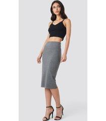 na-kd zip detail bodycon midi skirt - grey
