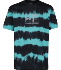 black and light blue cotton t-shirt