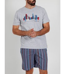 pyjama's / nachthemden admas for men pyjama kort t-shirt city antonio miro grijs admas