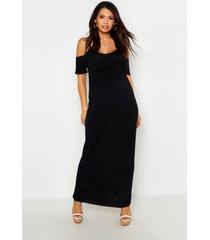 maternity cold shoulder maxi dress, black
