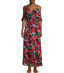 floral cold-shoulder ruffle maxi dress