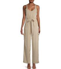 rd style women's self-tie scoopneck jumpsuit - tan - size m