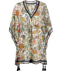 tory burch tassel-detail floral tunic - white