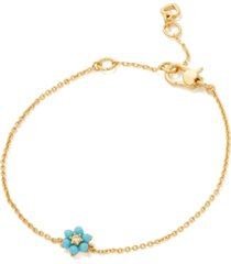 kate spade new york gold-tone pave & turquoise-look bead forget-me-not link bracelet