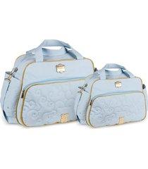 kit bolsas bebê maternidade urso azul claro  2 peças griff - tricae