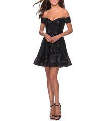 women's la femme off the shoulder sequin cocktail dress, size 0 - black