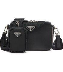 prada pouch detail messenger bag - black