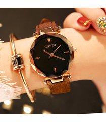 orologio da polso al quarzo alla moda orologio da donna con cinturino in pelle con quadrante rotondo nero bianco sottile in acciaio inossidabile