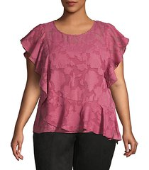 plus ruffled floral lace top